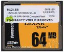 64MB CompactFlash Card Bulk on Tray, Lexar, BPR,