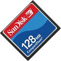 128MB 50p CF CompactFlash Card SanDisk (Red, Whit