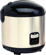 - 10-Cup Rice Cooker - Black, Stainless Steel