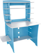 - Asymmetric Computer Desk and Hutch - Blue/White