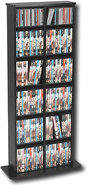 - Double-Tower Multimedia Storage Rack - Black