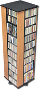- 4-Sided Spinning Storage Tower - Oak/Black
