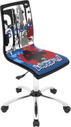 - Printed Graffiti Wood Office Chair - Black