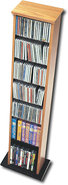 - Slim Multimedia Storage Tower - Oak/Black