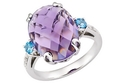 9 1/3 Carat Amethyst, Blue Topaz &amp; Diamond Sterlin