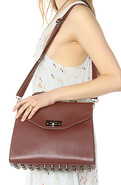 Women's The Bottom Studded Shoulder Bag in Wine, B