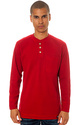 Men's The L/S Pocket Thermal Henley in Cherry Red,