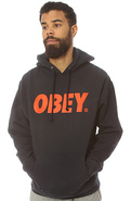 Men's The Obey Font Pullover Hoody in Navy, Sweats