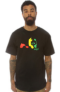 Men&#39;s The Rasta Panda Tee in Black, T-shirts