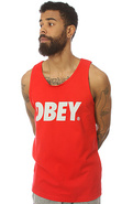 Men's The Obey Font Tank in Red, Tank Tops