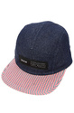 Men's The Refused 5 Panel Hat in Striped Navy, Hat