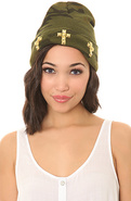 Women's The Studded Cross Beanie in Camo, Hats