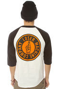 Men&#39;s The Sui-Circle Raglan in White &amp; Black, Tops