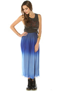 Women's The Shannon Ombre Mesh Maxi Skirt in Blue,