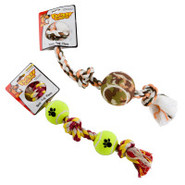 Mammoth Flossy Chews Knoted Rope w/ Tennis Ball Do