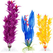 Top Fin Plastic Plant Variety Pack - Blue, Purple,