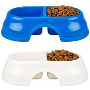 Grreat Choice Plastic Double Dish Dog Bowls