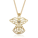 Finesque 18k Gold Overlay Diamond Accent Angel Nec