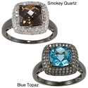 Silver Smokey Quartz/ Blue Topaz and 3/8ct TDW Dia