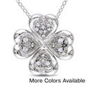 Miadora Sterling Silver 1/10ct TDW Diamond Hearts