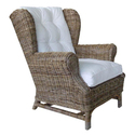 Kubu Brown Wing Chair with Cushion