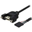1 ft Panel Mount USB Cable - USB A to Motherboard 