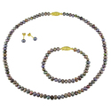 Miadora Gold-plated Freshwater Pearl Jewelry Set (
