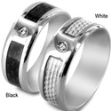 Titanium Men&amp;apos;s Carbon Fiber Inlay Cubic Zirco