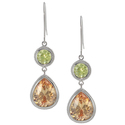 Tressa Sterling Silver Green and Orange CZ Dangle