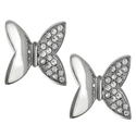 Journee Collection Steel CZ Mod Butterfly Earrings