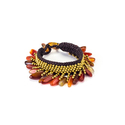 Carnelian and Brass Bead Wax Cord Bracelet (Thaila