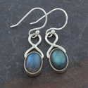 Labradorite Sterling Silver Oval Dangle Earrings (