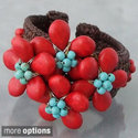 Turquoise and Red Coral Floral Cuff Bracelet (Thai