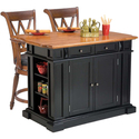 Black/ Oak Kitchen Island and Two Deluxe Bar Stool