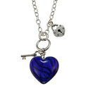 Silver Overlay Blue Glass Heart Necklace