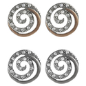 Journee Collection Steel CZ Vintage Mod Spiral Ear