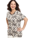 Plus Size Top, Short-Sleeve Printed Scoop-Neck