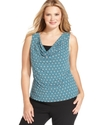 Plus Size Top, Sleeveless Cowl-Neck Geometric-Prin