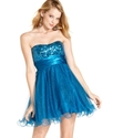 Juniors Dress, Strapless Sequin Tulle