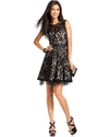 Dress, Sleeveless Belted Lace A-Line