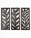 Wall Art, Set of 3 Botanical Metal Panels