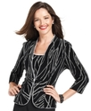 Evening Set, Three-Quarter-Sleeve Glitter Jacket &amp;