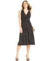 Dress, Sleeveless Ruched Dot-Print