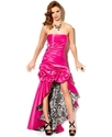 Juniors Dress, Strapless Gathered High-Low