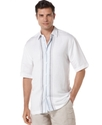 Big and Tall Shirt, Linen-Blend Short Sleeve Middl