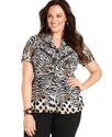 Plus Size Top, Short-Sleeve Printed Pintucked Blou