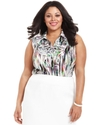 by ASL Plus Size Shirt, Sleeveless Ruffle Printed