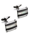 Men's Sterling Silver Cuff Links, Wood and Mother