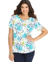Signature Plus Size Top, Short-Sleeve Boat-Neck Pr