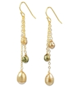 18k Gold Over Sterling Silver Earrings, Cultured F
